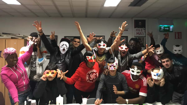 Young people wearing masks at the Irish Refugee Councils Youth Café